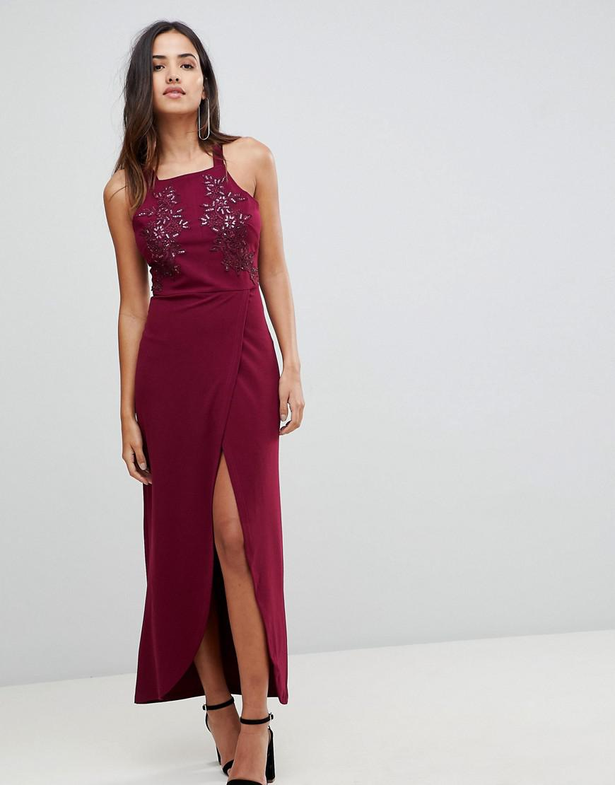 Lyst - AX Paris Midaxi Wrap Front Dress in Purple ea758003a