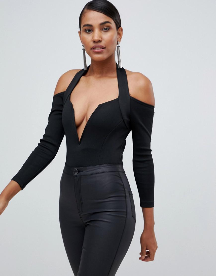 Lavish Alice Plunge Front Bodysuit In Black in Black - Lyst b75ddd66b