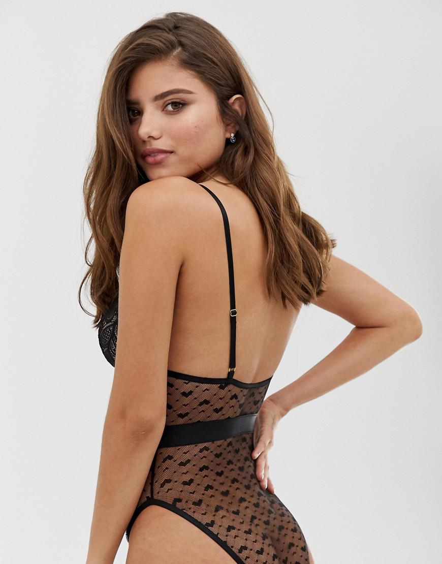 851b697e89159 Wolf   Whistle Fuller Bust Lace And Mesh Detail High Leg Bodysuit In Black  in Black - Lyst