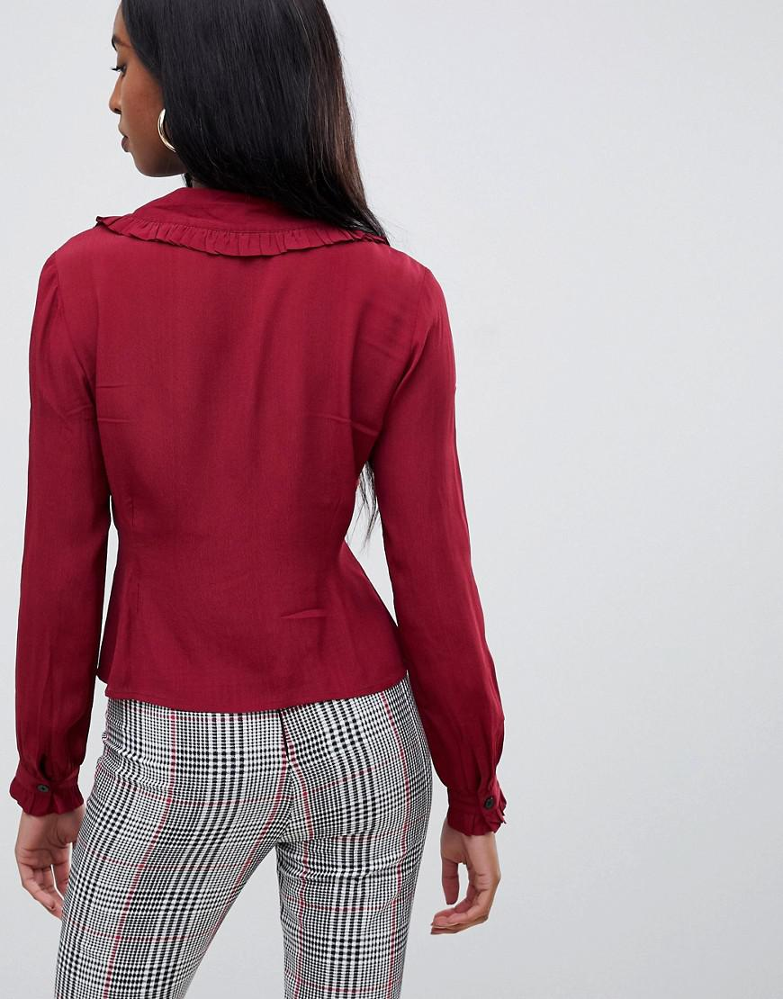 250a1fd99c668 Lyst - ASOS Asos Design Tall Waisted Tea Blouse With Collar Detail And Long  Sleeves in Red