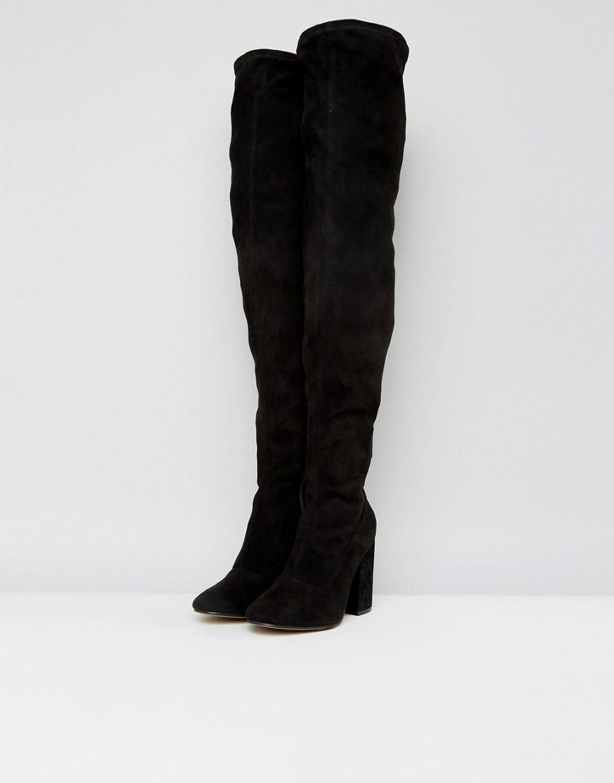 a642aace5a0 Lyst - ASOS Asos Katcher Wide Fit Heeled Over The Knee Boots in Black -  Save 38%