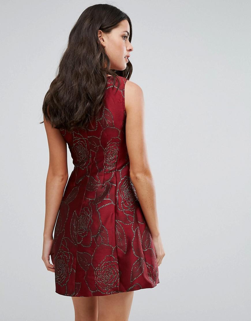 Lyst - AX Paris Jacquard Skater Dress in Purple 336b6b0e6
