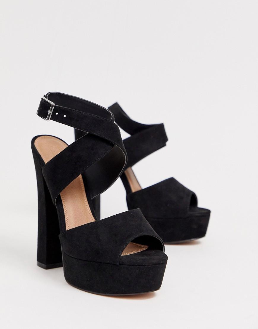 17d6483b0851 Lyst - ASOS Hutchinson Platform Block Heeled Sandals in Black