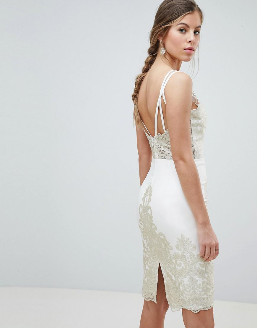 d7ea7115b2 Chi Chi London Lace Detail Pencil Midi Prom Dress With V Back in Natural -  Lyst