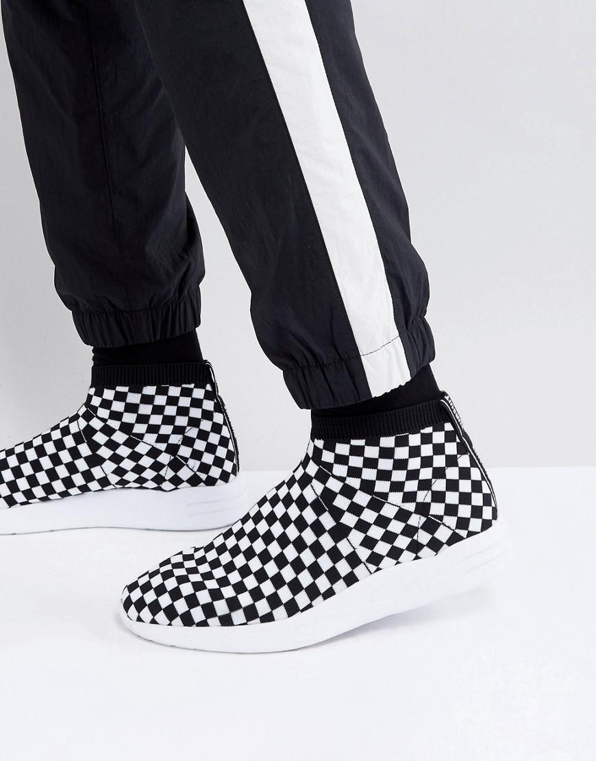 Sock Boot Trainers In Checkerboard - White Asos lzbbpa0nJ3