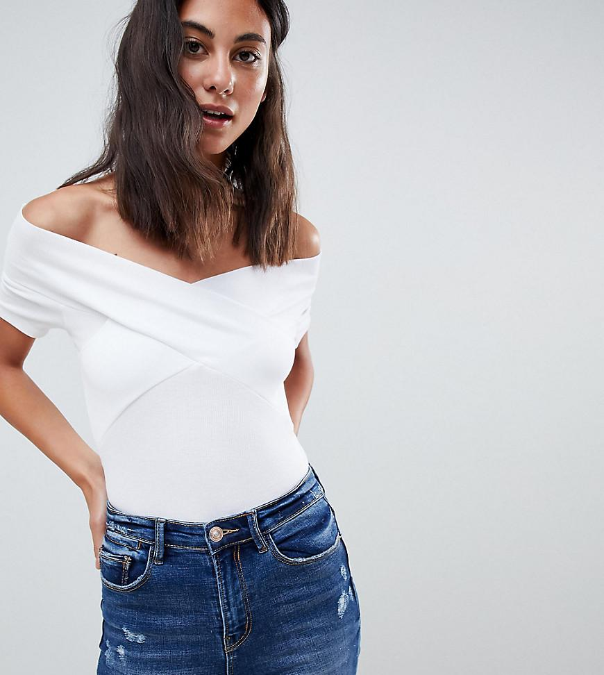 fa93b07e45ce8 Lyst - ASOS Asos Design Tall Off Shoulder Fitted Top In White in White