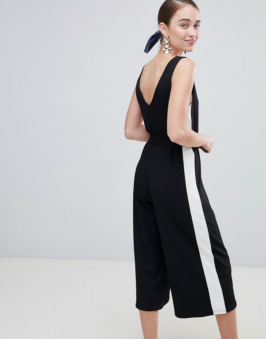 df3ee15cbebe Lyst - New Look Side Stripe Rib Jersey Jumpsuit in Black
