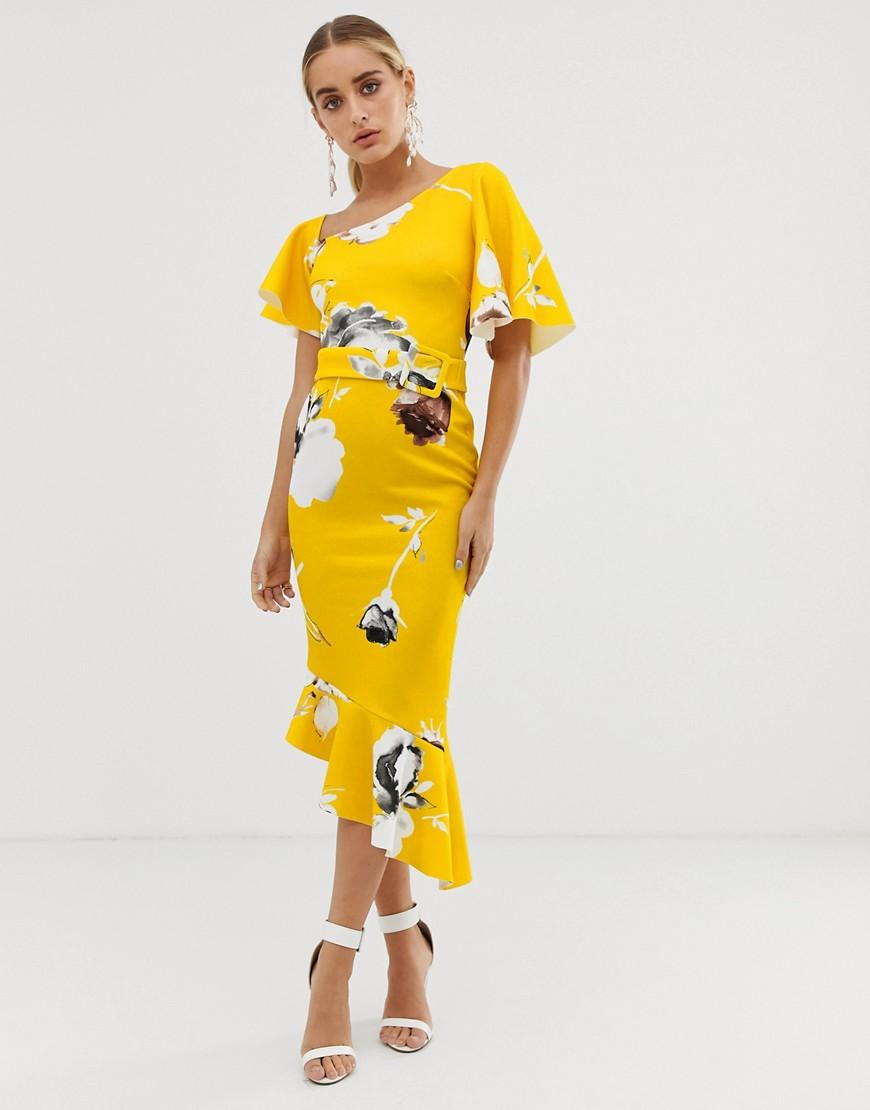 54a666c2f921 ASOS - Yellow One Shoulder Belted Floral Ruffle Midi Dress - Lyst. View  fullscreen