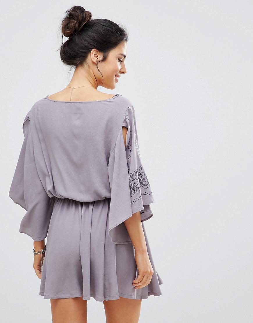 4c9240e0305e1 Lyst - Surf Gypsy Embroidered Beach Dress in Purple