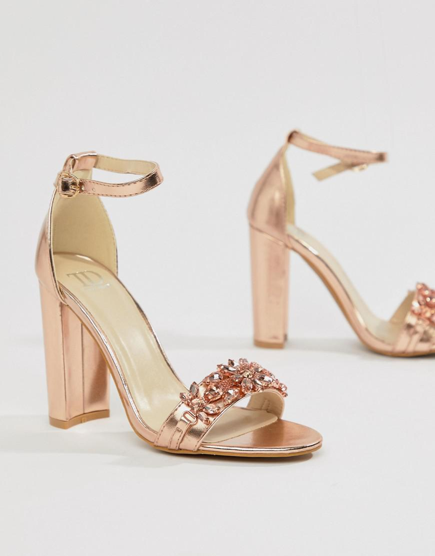675a133ac19 True Decadence Rose Gold Embellished Block Heeled Sandals in Metallic - Lyst