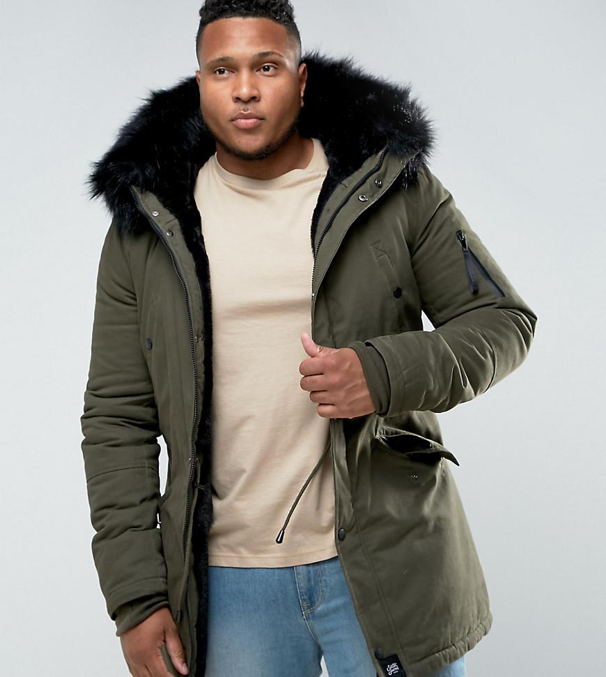 06f2b10e4de6c Sixth June Parka Jacket In Khaki With Faux Fur Hood Exclusive To ...