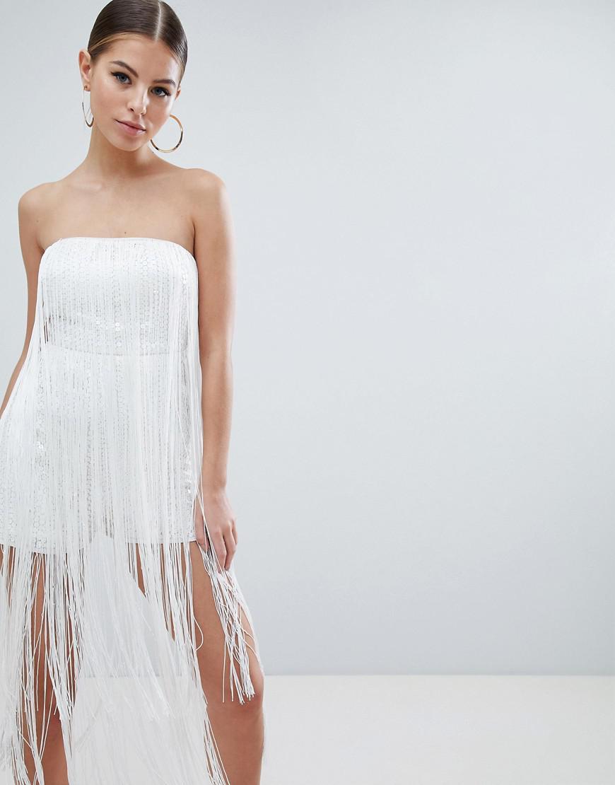 62af1b85824 Lyst - ASOS Embellished Bandeau Playsuit With Fringing in White