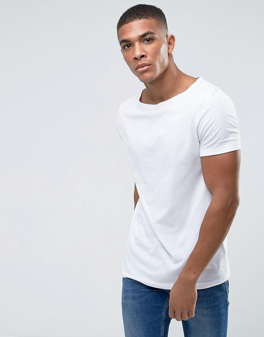 Lyst Asos T Shirt With Boat Neck In White In White For Men