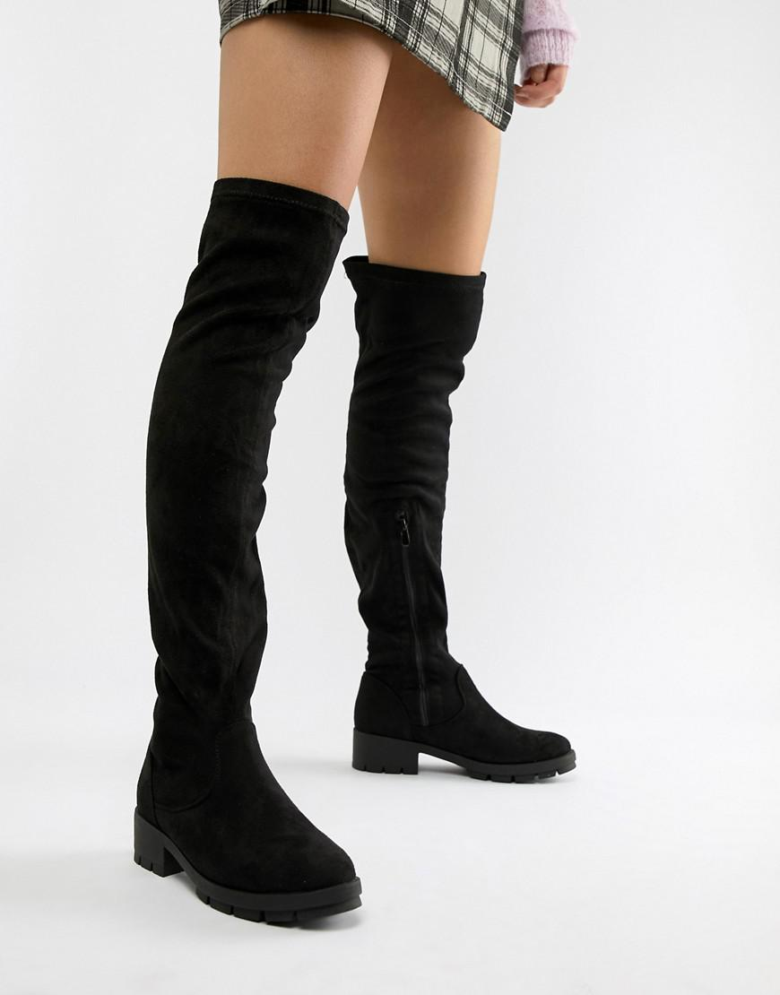 95ddb29c90b Truffle Collection Stretch Over Knee Boots in Black - Lyst