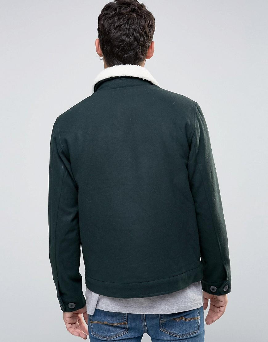 Lyst Farah Bomber Jacket With Borg Collar In Green Wool