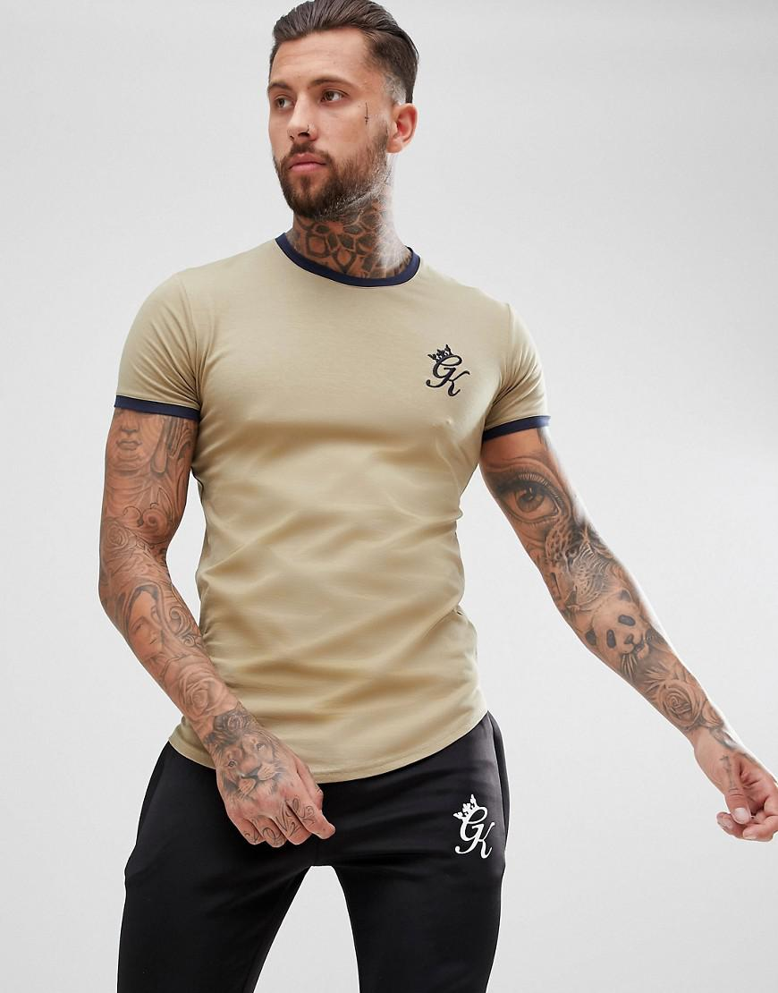 4a3f5c51 Lyst - Gym King Muscle Ringer T-shirt In Khaki With Logo in Green ...