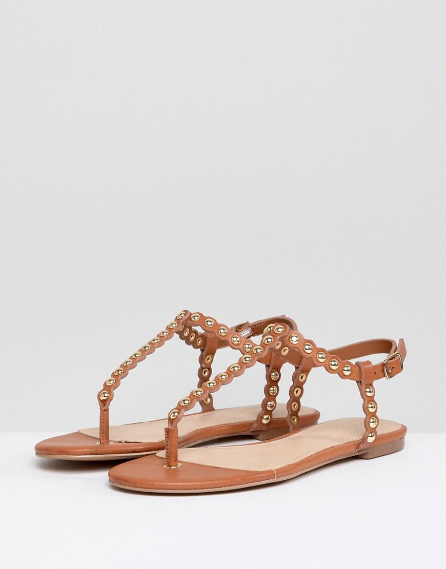 1ed1a9f77e20 ALDO Studded T Bar Flat Sandal in Brown - Lyst