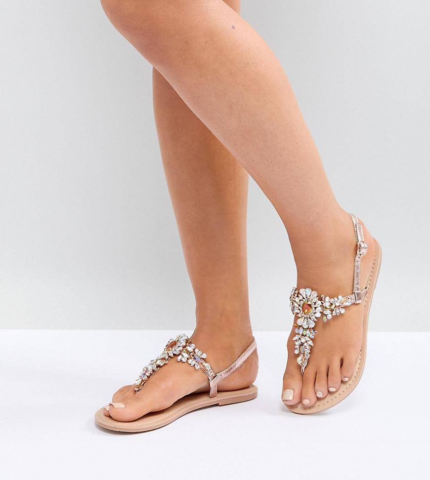 DESIGN Wide Fit Fairlight leather embellished flat sandals - Silver Asos 4rPdk5pVV