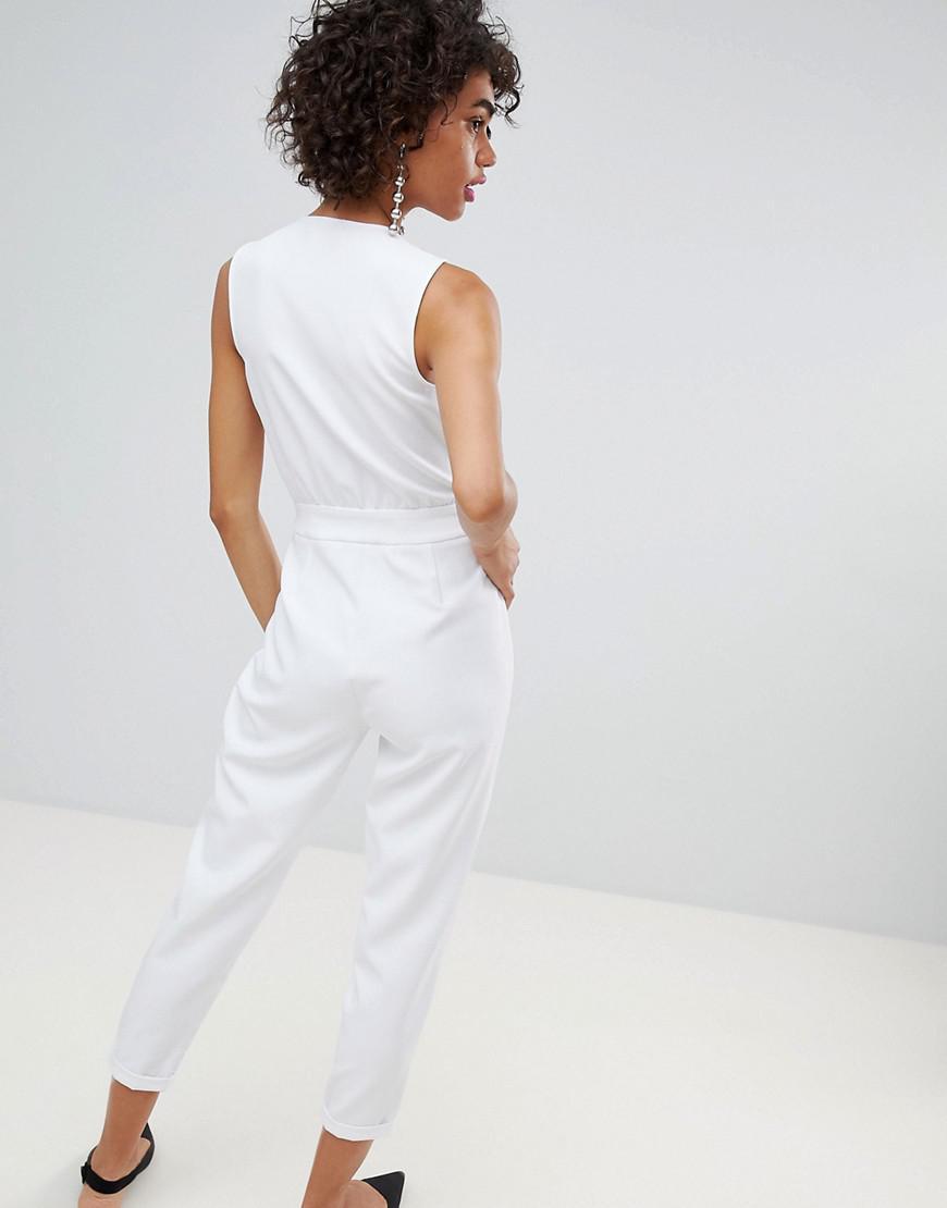 9e88636b5d06 Lyst - Stradivarius Tailored Jumpsuit in White