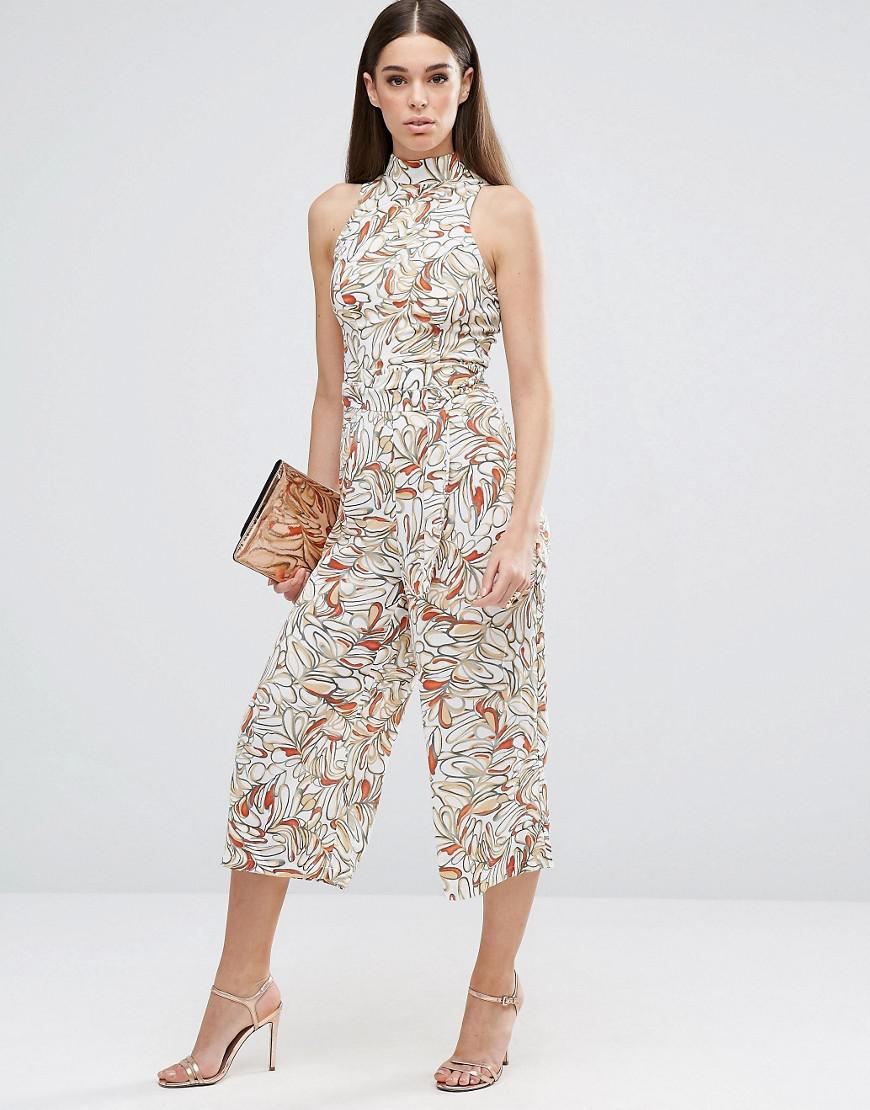 0d7b79e5cd4 AX Paris Leaf Print Culotte Jumpsuit With High Neck - Lyst