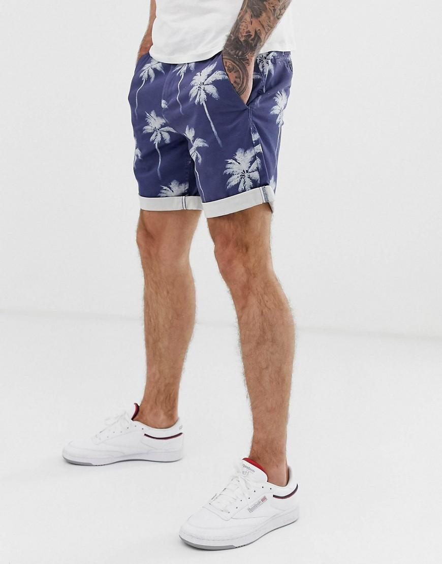 Con Pantalones Azul En Estampado Cortos Chinos De Elásticos Palmeras vN8m0nw