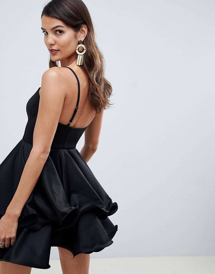 04733ccf1e2 Lyst - ASOS Premium Square Neck Mini Prom Dress With Wired Hem in Black