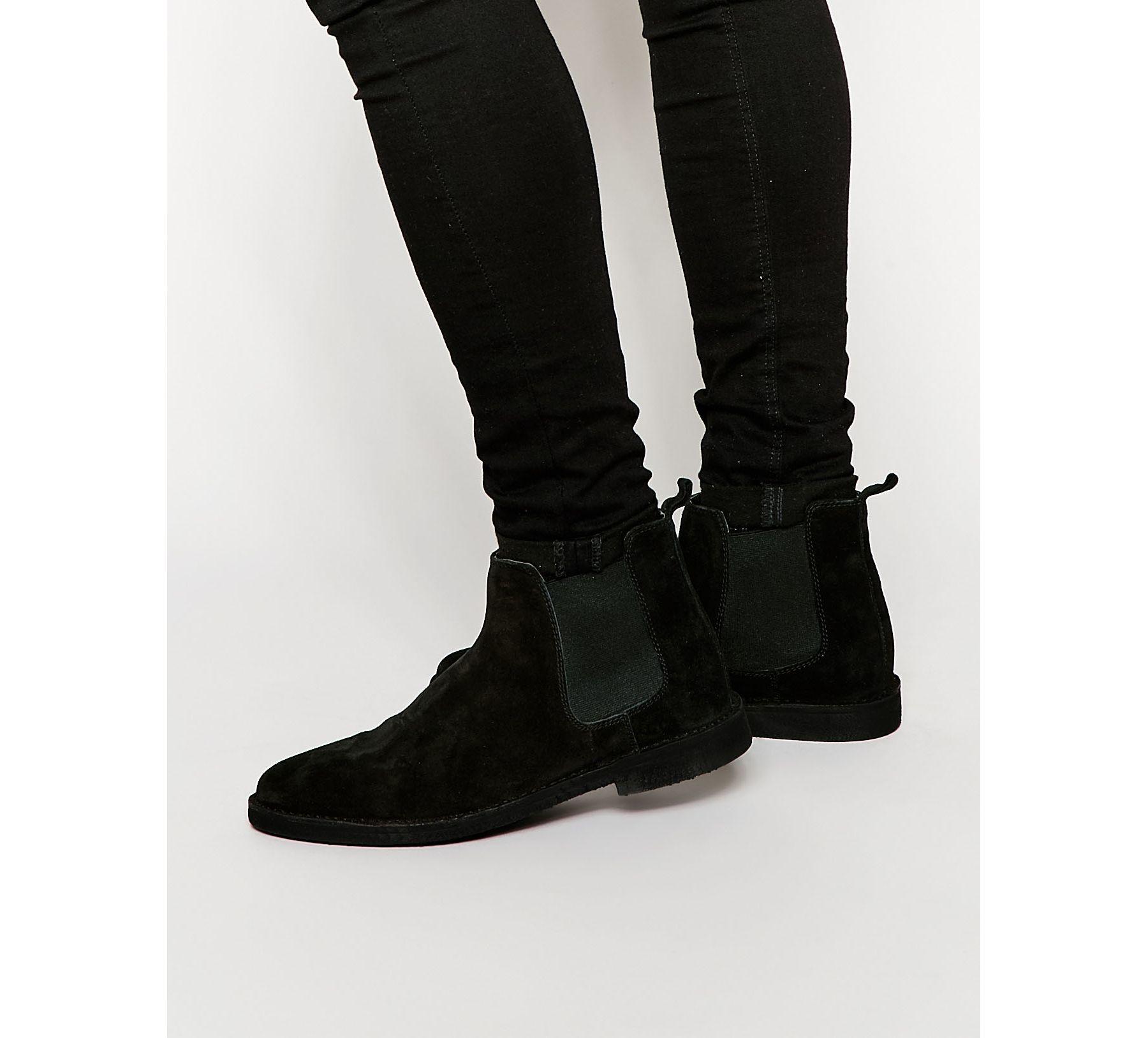 asos chelsea desert boots in black suede in black for