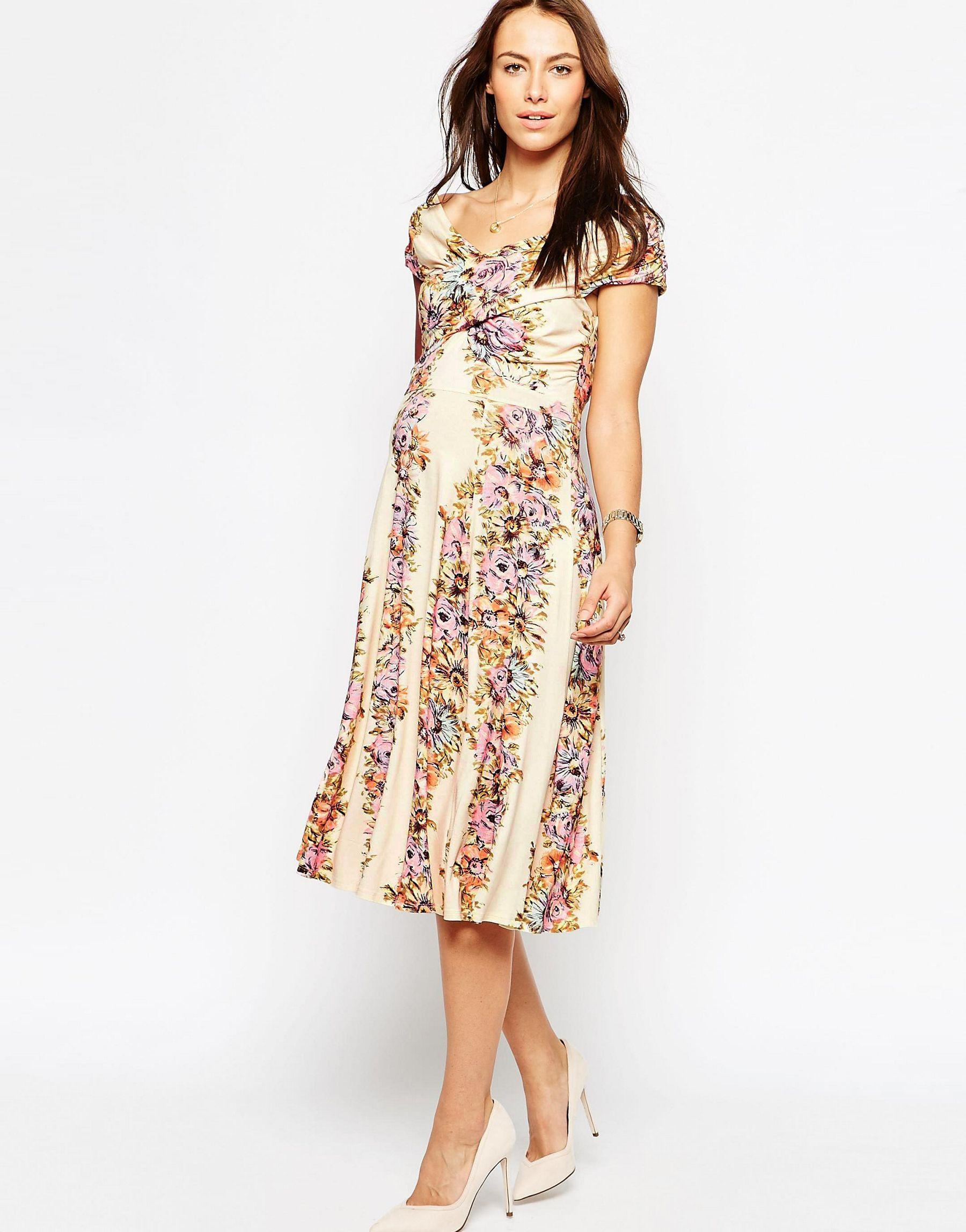 Asos maternity midi skater dress with twist off shoulder in gallery ombrellifo Images