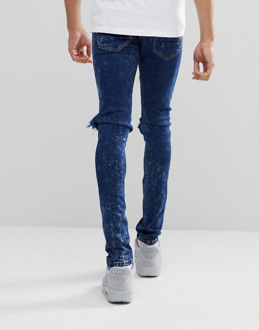 TALL Stonewash Open Knee Rip Skinny Jeans - Blue Liquor & Poker K6yyZ8YNp