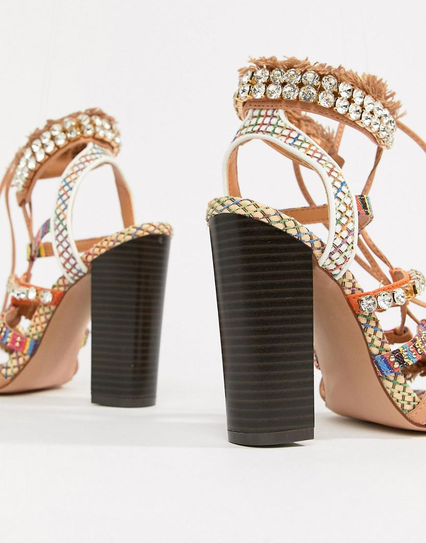 868e35d168 River Island Heeled Sandals With Block Heel And Tassel Detail in ...
