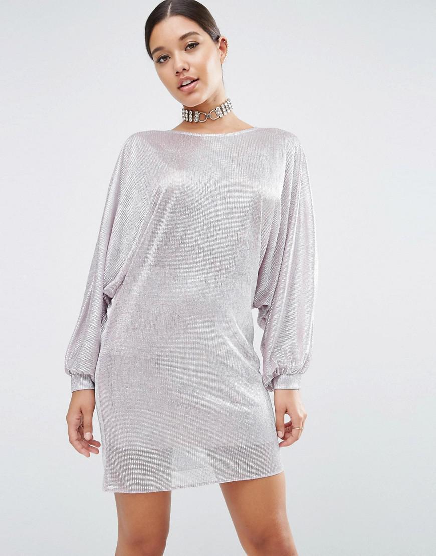 f67e765b0e ASOS Metallic Oversized Caftan Mini Dress in Gray - Lyst