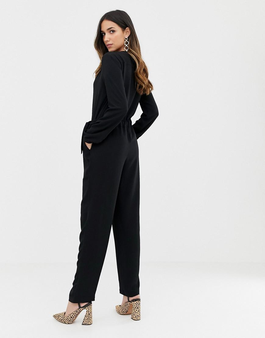 89877662c4b0 Lyst - Vila Wrap Jumpsuit in Black