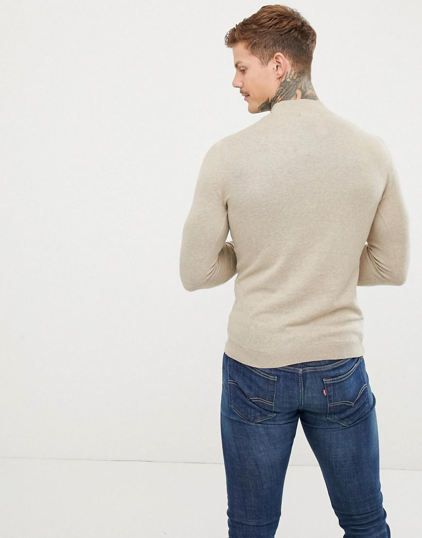 82130d216fe2 Lyst - ASOS Muscle Fit Turtle Neck Jumper In Oatmeal in Natural for Men