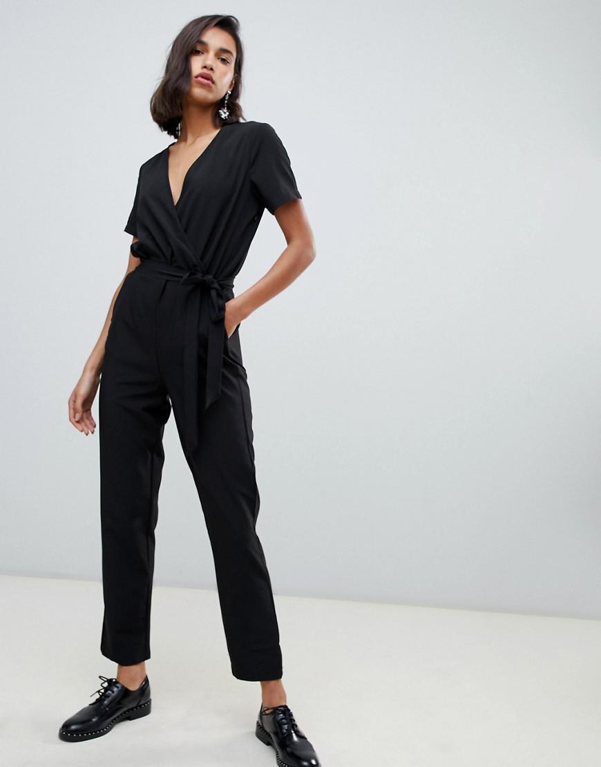 8006ce299ae Vero Moda Wrap Front Jumpsuit in Black - Lyst