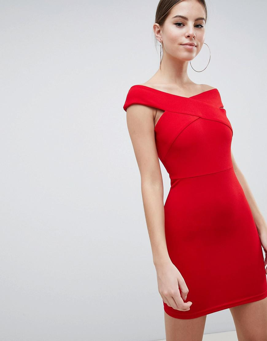 8fcf082d5c Lyst - AX Paris Bardot Cross Front Bodycon Dress in Red