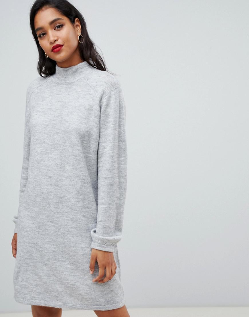 d0620c292daec Lyst - Vila High Neck Knitted Mini Sweater Dress In Gray in Gray