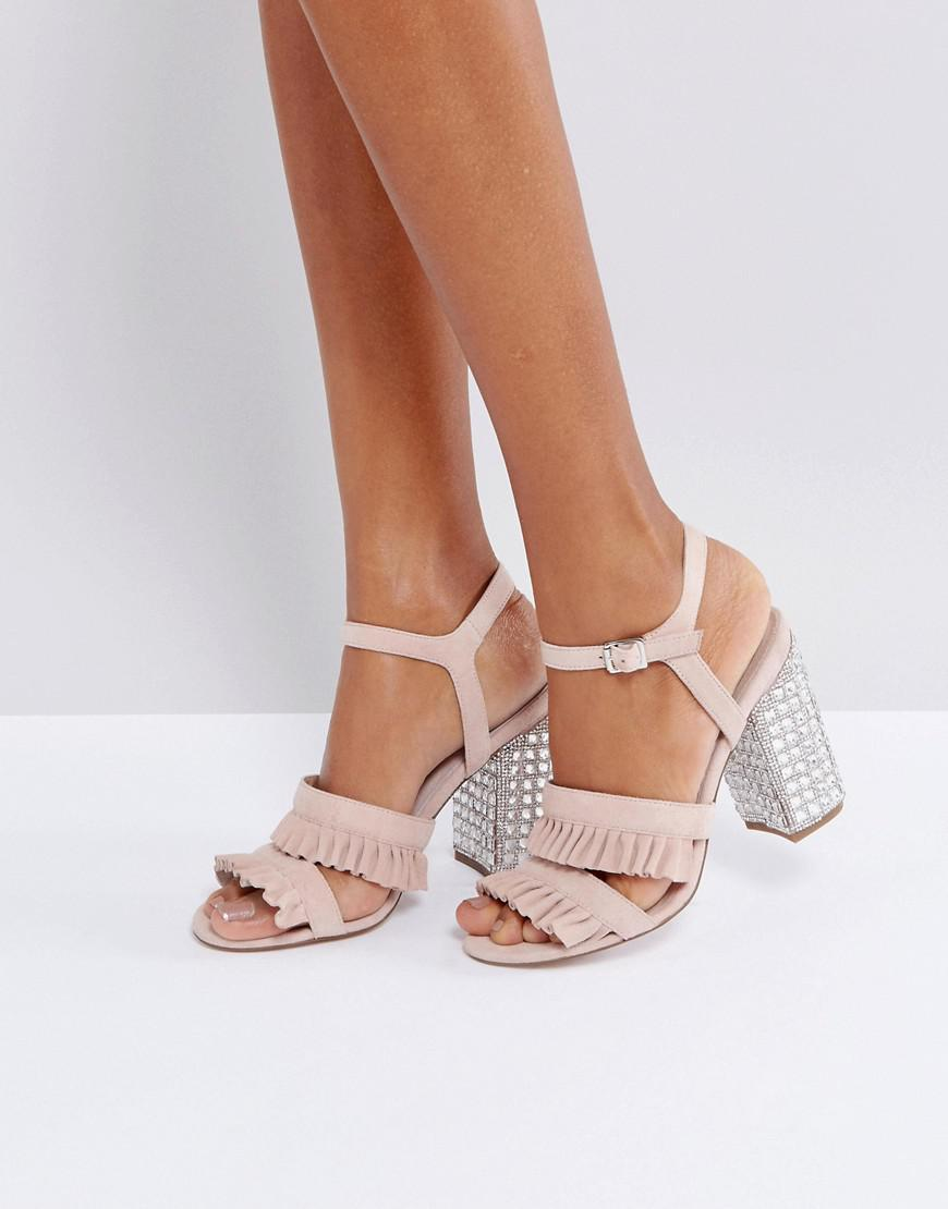 8a492d8524c2 Faith Solo Florence Suede Frill Heeled Sandals in Pink - Lyst