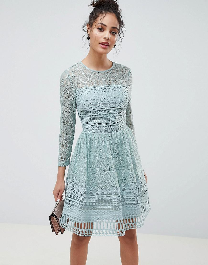 043df31850 Asos Premium Lace Top Jacquard Mini Skater Dress – DACC