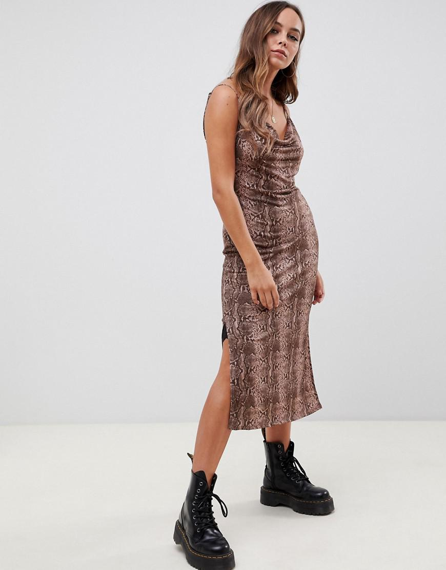 0b20dcab42ed Lyst - ASOS Cowl Front Midi Slip Dress In Snake Print in Brown