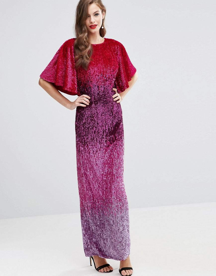 6fe530835b389 ASOS Red Carpet Ombre Embellished Caftan Maxi Dress - Lyst