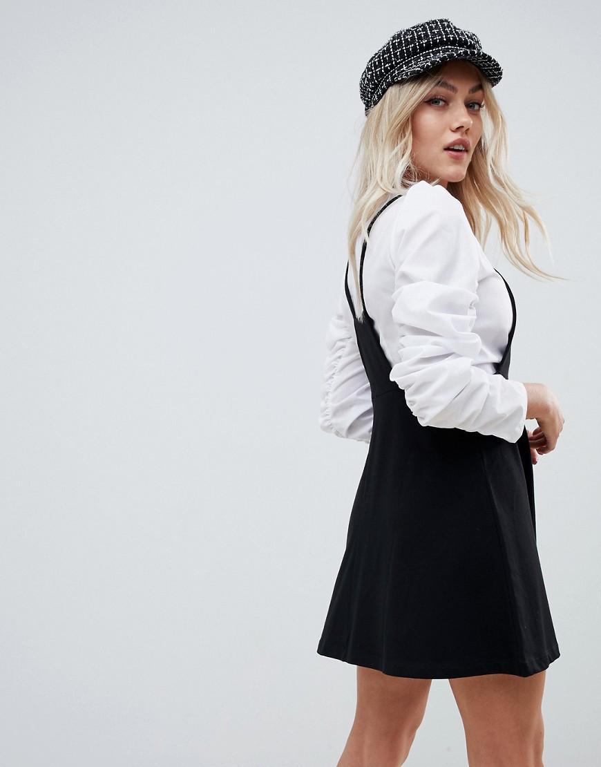 36fd306f2ba Lyst - ASOS Asos Design Petite Square Neck Mini Pinafore Dress in Black
