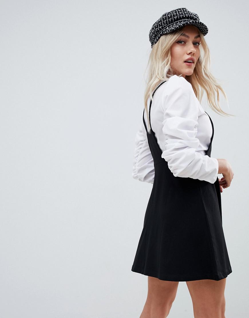 d6117601307 ASOS Asos Design Petite Square Neck Mini Pinafore Dress in Black - Lyst