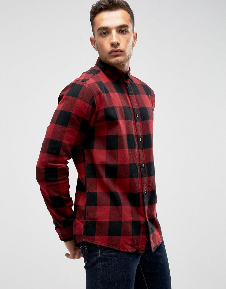 Lyst only sons check shirt in slim fit in red for men for Slim fit check shirt