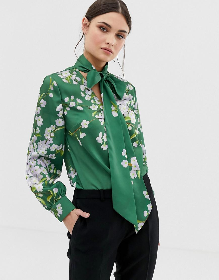 807040973f9 Ted Baker. Women s Green Jhenni Print Midi Dress With Pussybow.  188  141 From  ASOS