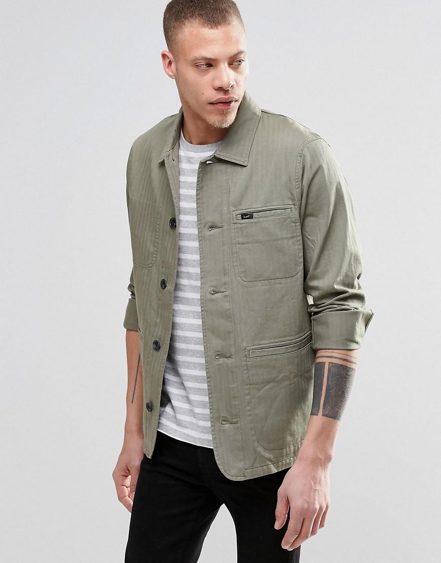 Lyst - Lee Jeans Slim Herringbone Worker Jacket In Green For Men