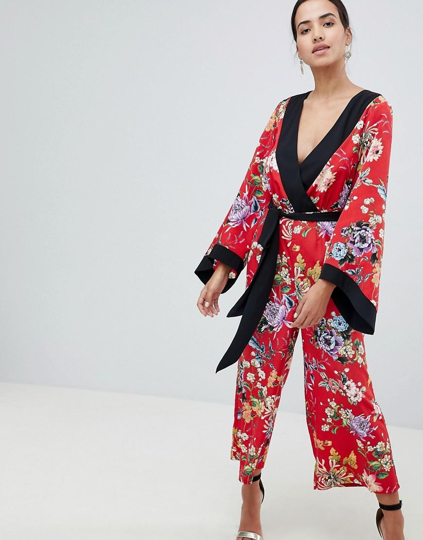 ad9b95b382 Lyst - ASOS Kimono Jumpsuit With Tipping In Floral Print in Red
