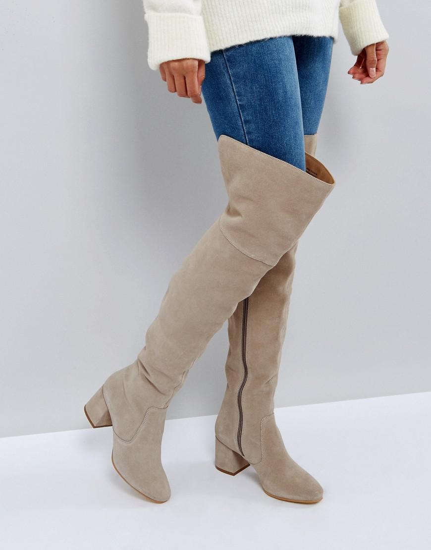 f2451916340 Office Krown Suede Over The Knee Boots in Gray - Lyst