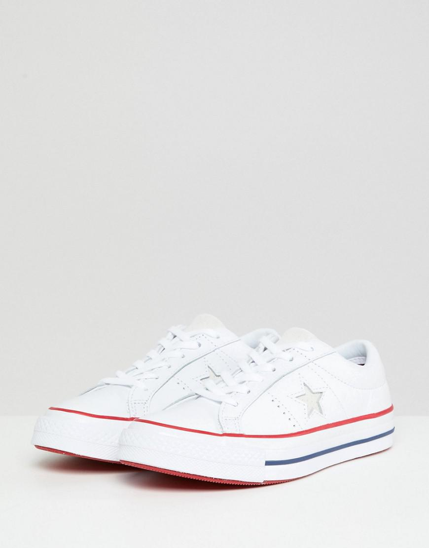 10193f5493ad Lyst - Converse One Star Leather Sneakers In White in White