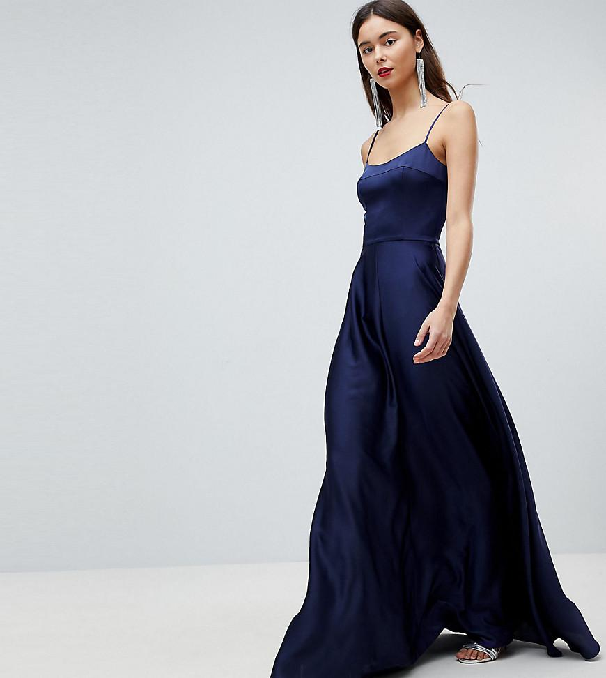 b9703aa0a9 ASOS Square Neck Cami Satin Maxi Dress in Blue - Lyst