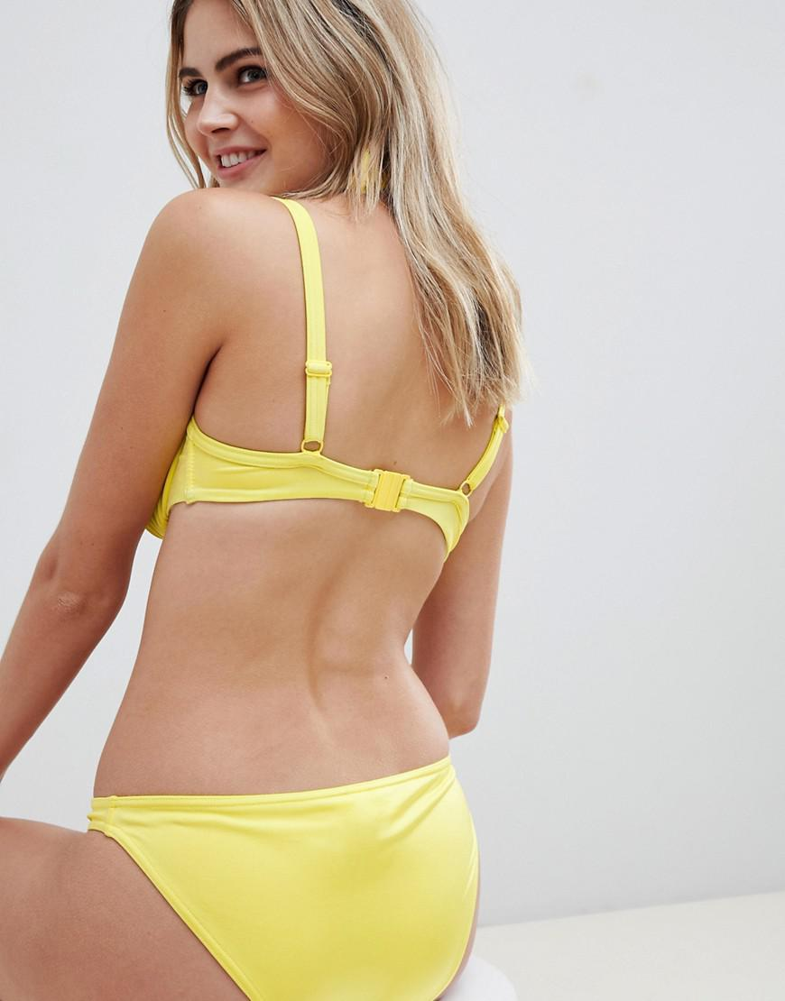3ef666637f ASOS Fuller Bust Exclusive Underwired Ruched Bikini Top In Yellow Dd-g in  Yellow - Lyst